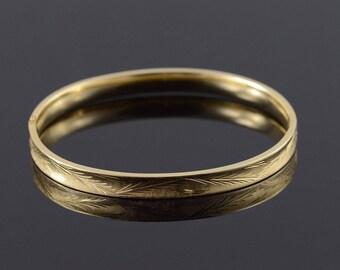 """14k 6mm Wide Engraved Oval Expandable Bangle Bracelet Gold 2.3"""""""