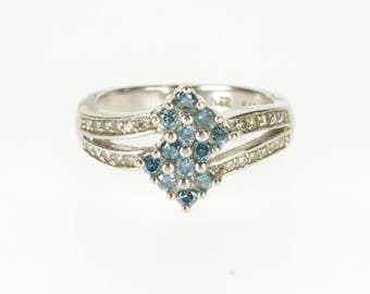 14k 0.36 Ctw Blue White Diamond Cluster Wavy Tiered Ring Gold