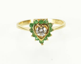14k 0.49 Ctw Diamond Emerald Inset Heart Halo Ring Gold