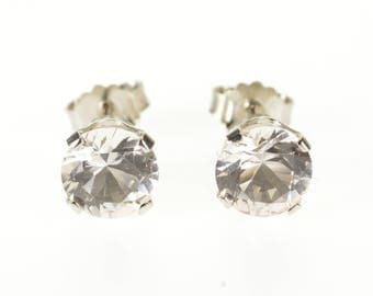 14k Round Cubic Zirconia Post Back Stud Earrings Gold