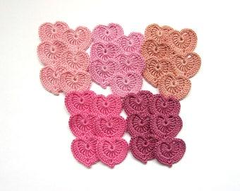 Crochet hearts appliques, Set of 30, Crochet hearts, Decorative motif, Embellishments accessories