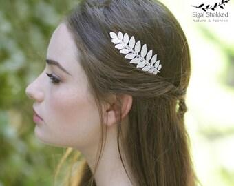 Silver Leaf Hair Comb  Bridal Hair Comb Laurel Hairpiece Wedding Comb Bridesmaid Headpiece Bridesmaid Comb Bridesmaid Gift Grecian Wedding