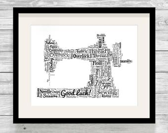 Personalised Sewing Machine Word Art Print Bespoke Typography Dressmaker, Tailor