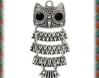 10 pendants antiqued silver articulated OWL 3.6 cm