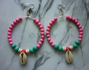 Earrings ibiza bohemian trendy pink earring with kauri shell