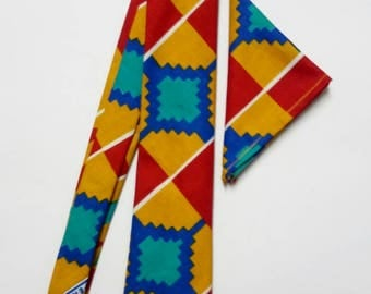 Multicoloured Geometric Kente Necktie And Pocket Square, Ankara Mens African Clothing, Valentine Gift For Him Dad Wedding Graduation