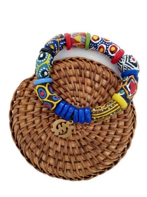 Beaded Bracelet With African Adinkra Pendant For Men