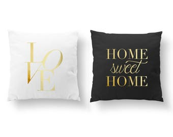 SET of 2 Pillows, Love Pillow, Bedroom Decor, Livingroom Decor, Throw Pillow, Home Sweet Home Pillow, Cushion Cover, Gold Decorative Pillow
