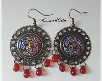 Bronze bead earrings pair.