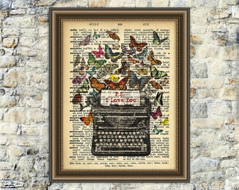 "Dictionary Page Art - Dictionary Print Art - vintage illustration - Vintage Butterflies - Instant Download - I love you - 8"" x 10"""