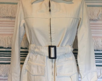Vintage 60s Levi's for gals , white denim zip through belted safari jacket