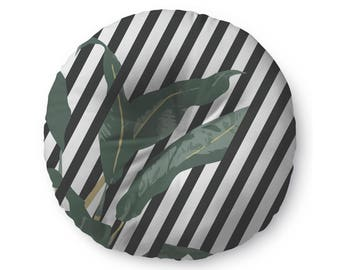 Banana Leaf with Stripes - floor pillow