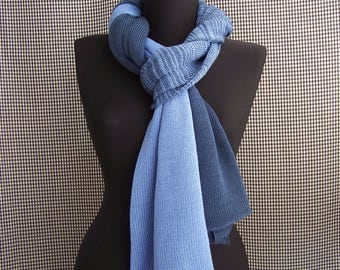 knitted big long thin dark and light blue gradient soft wool scarf for men or women