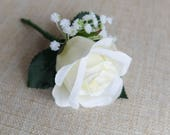 Ivory and white silk wedd...