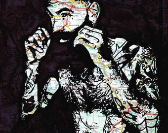 hot hairy chested tattooed guy with hipster beard homo queer art by NLMKART PRINT