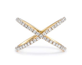 18K Diamond eternity Ring, Diamond Gold Ring , Eternity Diamonds Ring, X Diamond ring, Everyday Jewelry, Double Ring, Pave Diamond ring
