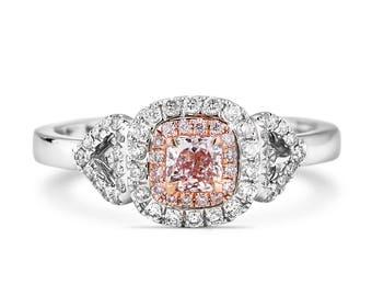 Pink Diamond Ring, Diamond Engagement Ring, 18K white gold Ring, Cushion cut Engagement Ring, Halo Diamond Ring, Pink Halo Diamond Ring