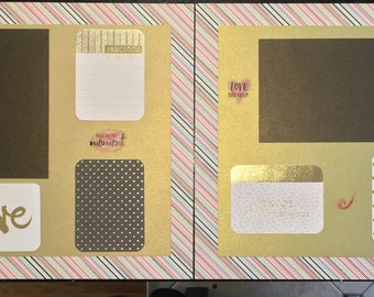 Precious Moment Memories Gold and Mulicolor Stripe Scrapbook Set (2 pages)