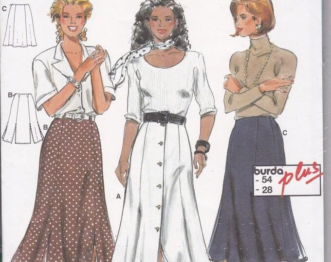 FREE US SHIP Burda 4072 Retro 1990s 90's Gored Button Skirt Size 10 12 14 16 18 20 22 24 26 28 Waist 32 34 36 38 40 42 44 46.5 uncut