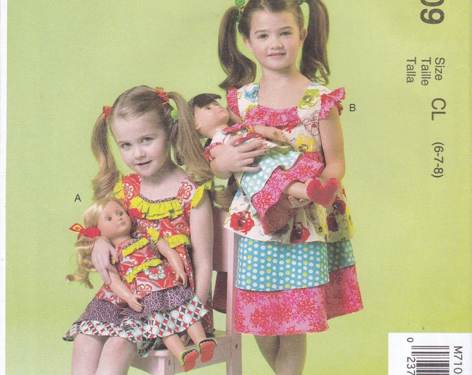 Free Us Ship Sewing Pattern McCall's 7109 Girls Dress Matching American Doll Cozy Toes Factory Folded Size 6 7 8
