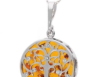 Tree of life, amber necklace on silver 925