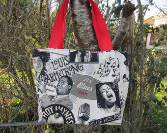 large tote bag, Tote, tote bag, gray white black red jazz
