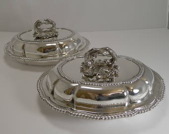 Pair of Antique English Entree Dishes by Elkington and Co. - 1862