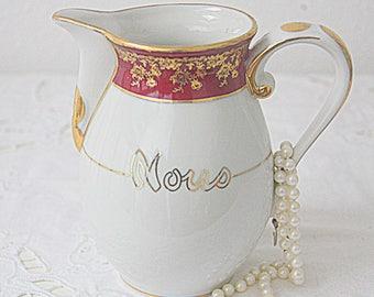 Vintage Limoges Porcelain Creamer 'Nous', Cherry Red Rim, France