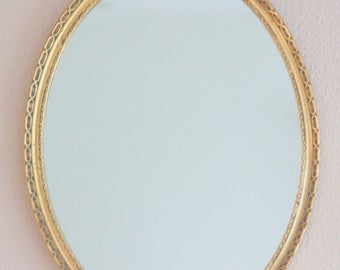 Vintage Oval Hanging Mirror, Gilded Wooden Frame, Home Decoration