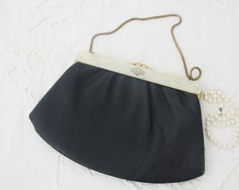 Vintage Black Leather Evening Bag, Purse, Metal Clasp and Chain Handle, Mother-of-Pearl Decor