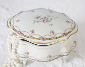 Vintage Limoges Porcelain Footed Trinket Box, Handpainted Flower Garlands, France