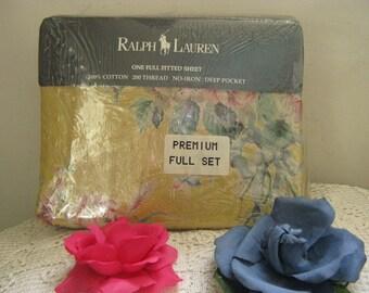 Ralph Lauren NIP HTF Evelyn Yellow Full Sheet Set