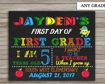 School Sign First Day of First Grade, Back to School, Chalkboard Sign,ANY GRADE, Digital Printable, Back to School, First Day of First Grade