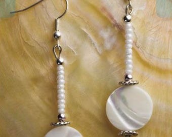 White shell beaded dangle earrings, shell earrings, white earrings, dangle earrings