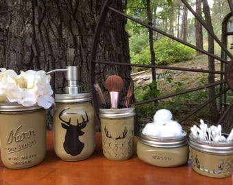 Deer Jar Decor-Cabin Decor-Mason jar bathroom set-mason jars-farmhouse decor-rustic bathroom set-soapdispenser-housewarming gift-wedding