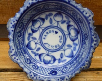 Antique Blue & White Ceramic Dish 1883