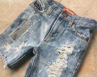 2T Toddler Boy Custom Distressed Jean Shorts