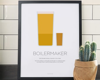 Boilermaker cocktail print – Whiskey and beer – Whisky – Cocktails recipe – Beer chaser – Drinks – Kitchen art – Kitchen poster