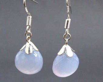 Facetted Chalcedony Drop Earrings