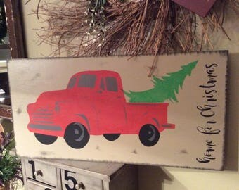 Red Truck Sign, Christmas Decor, Christmas Sign, Farmhouse Christmas, Red Truck, Farmhouse decor, Christmas truck, Holiday Decor