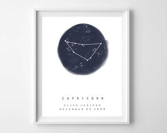 Personalized Zodiac Print, Printable Art, Personalized Name Print, Personalized Zodiac Sign, Printable Zodiac Sign, Astrology Print