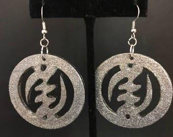 Silver Gye Nyame Circle Earrings