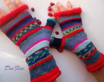 Women Size M 20% OFF Asymmetrical Knitted Bohemian Gloves Boho Fingerless Striped Warm Accessories Feminine Wrist Warmers Winter Arm 1134
