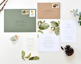 Magnolia Wedding Invitation | Magnolia Leaves Wedding Invitations, Southern Magnolia Invitation, Magnolia Flower, Botanical Wedding Invite