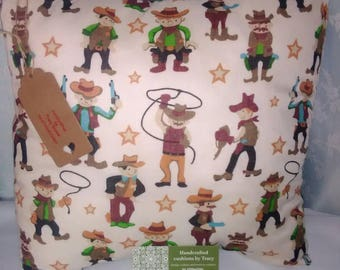 Handmade cushion cover boys cowboy design