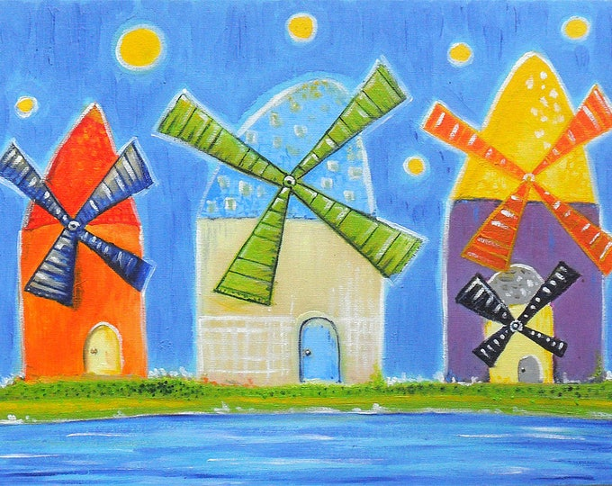 Colourful windmills - oil painting on canvas