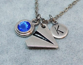 Paper plane  necklace, swarovski birthstone, initial necklace, birthstone necklace
