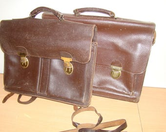 Set of bags or leather Briefcase.