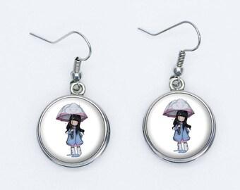 Doll umbrella earrings
