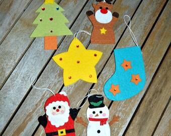 set of 6 decorative Christmas